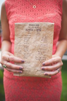 bags of bird seed that double as wedding programs // photo by Simply Rosie, styling by Amanda Douglas Events // http://ruffledblog.com/colorful-manitoba-wedding