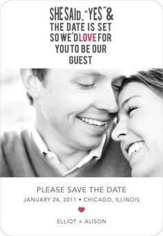 A fun wedding invite, also hints at a B theme.