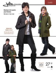 City coat:  Figure-flattering three-quarter length coat with choice of standing collar or hood.   Button-front, front and back princess seams and on-seam front pockets.