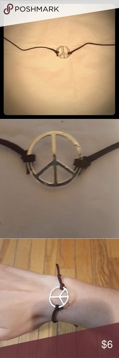 """Peace Sign Bracelet One of a kind handmade by me brown suede bracelet with silver plated peace sign. 11.5"""" from end to end Jewelry Necklaces"""