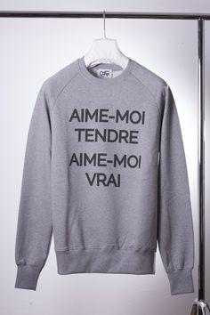 """AIME-MOI TENDRE, AIME-MOI VRAI"" / Love me tender, love me true... / pull sweat-shirt ELVIS gris / 100% coton bio"