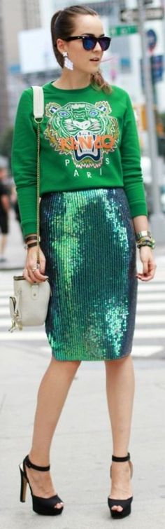 Emerald Sequin Midi Skirt #Fashionistas