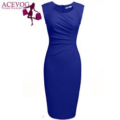 @@@best priceACEVOG Angvns Women Sexy Vestidos 2016 Summer Casual Elegant Dresses Cap Sleeve Pleated Solid Slim Pencil Office Lady Dress-in Dresses from Women's Clothing
