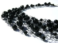 Black Bead Necklace  Hand Knit Wire Jewelry by frenchsoul on Etsy, $35.00