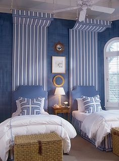 In Good Taste: Gary McBournie - Design Chic - completely obsessed with this bedroom - love the blue and white stripes and the wicker storage chests are amazing!perfect for boy's room or guest room Home Bedroom, Girls Bedroom, Bedroom Decor, Girl Room, Preppy Bedroom, Master Bedroom, Interior Design Blogs, Color Interior, Interior Designing