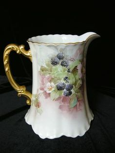 1921 Signed BERRIES & BLOSSOMS Limoges Large Water Pitcher