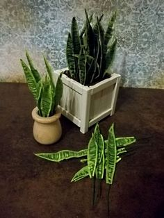 Snake Plant-Mother in law tongue-Kit... 28.00, via Etsy. Victorian Dollhouse, Diy Dollhouse, Dollhouse Miniatures, Dollhouse Tutorials, Mini Plantes, Barbie Accessories, Dollhouse Accessories, Miniature Plants, Miniature Dolls