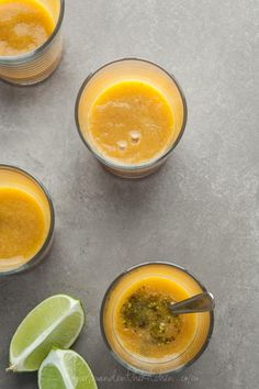 """Chilled Tomato Peach Soup with Pistachio Basil Pistou on gourmandeinthekitchen.com 