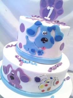 Blues Clues Cake! 1st Birthday Girl Decorations, Blue Birthday Parties, 2nd Birthday Party Themes, Girl 2nd Birthday, Birthday Ideas, Dog Cakes, Girl Cakes, Cupcake Cakes, Fancy Cakes