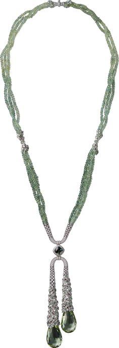 Cartier High Jewelry Collection Necklace of white gold, beryls, green sapphires, chrysoberyls, tsavorite garnets, diamonds (=)