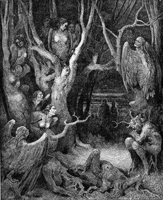 "you-need-satan:    Gustave Dore ""Harpies in the Forest of Suicides""  (Canto XIII, Inferno, Divine Comedy, by Dante Alighieri)"