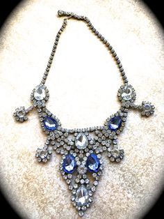 Sapphire Blue Necklace-Rhinestone Bib by JNPVintageJewelry on Etsy