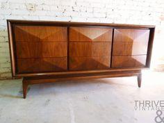 Just-In 2-19-14 |  Modern United Furniture Diamond Dressers, Vintage Blue Barrel Back Bamboo Chair, Barrel Side Table, Mid-Century Teak Table Lamp