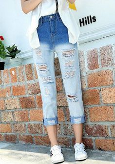 Buy Denim Ripped Pegged Pants | mysallyfashion.com Malaysia