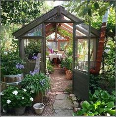 Combination greenhouse and sitting room I love it! - Greenhouse - Ideas of Gre. - Combination greenhouse and sitting room I love it! – Greenhouse – Ideas of Greenhouse - Diy Greenhouse Plans, Backyard Greenhouse, Backyard Landscaping, Landscaping Design, Landscaping With Rocks, Greenhouse Wedding, Small Greenhouse, Heating A Greenhouse, Underground Greenhouse