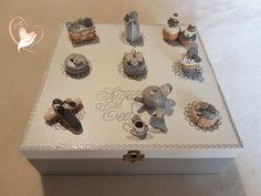 Boîte à thé ou tisane grise et blanche- au coeur des arts - arts de la table - Au coeur des Arts