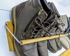 Pallet Shoe Rack / Wall Shoe Rack / Rustic Shoe Rack / Shoe | Etsy Shoe Rack Copper, Rustic Shoe Rack, Wooden Shoe Racks, Copper Shoes, Shoe Organizer Entryway, Boot Organization, Wall Shoe Rack, Shoe Rack Closet, Bespoke