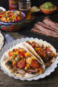 "Fiery Barbecue Flank Steak Tacos with ""Summer Mess"" Salsa. #SummerSoiree #bbq"