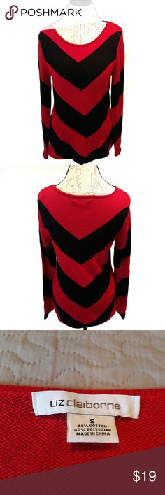 Liz Claiborne ⏺️ chevron long sweater In perfect condition. Like new! Very lovely black and red chevron print sweater. Very soft material. Perfect to pair with black leggings and boots. Measurements provided in pics above. True to size. From a smoke and pet free home. Fast shipping! Bundle and save! *FOLLOW ME to see NEW ARRIVALS that are added weekly* Liz Claiborne Sweaters