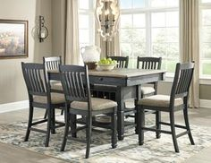 Tyler Creek - Rectangular Dining Room Table & 6 UPH Side Chairs by Signature Design by Ashley. Get your Tyler Creek - Rectangular Dining Room Table & 6 UPH Side Chairs at Emily's Home Furnishings, Le Mars IA furniture store. Dining Room Server, Dining Room Bench, Dining Room Sets, Dining Room Furniture, Kitchen Tables, Kitchen Ideas, Gray Dining Tables, Dining Chairs, Kitchen Island