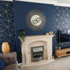 Blue Feature Wall Living Room, Blue And Gold Living Room, Navy Blue Living Room, Living Room Grey, Home Living Room, Blue Living Room With Wallpaper, Dark Blue Feature Wall, Living Room Ideas Uk, Living Room Decor Colors