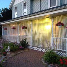 Adding cabana curtains to my front porch. Cabana, Front Porch, Garage Doors, Curtains, Outdoor Decor, Google Search, Home Decor, Homemade Home Decor, Decks