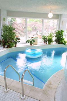 Bright indoor pool design livened up with indoor plants