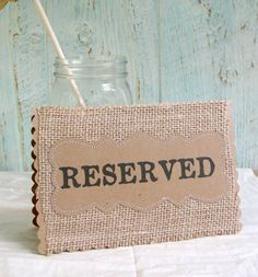 Wedding Table Cards RESERVED Place Holder, Burlap Kraft Rustic Country Woodland Signs for Reception Tables
