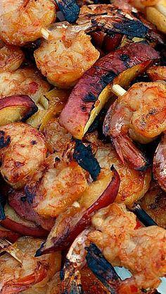 Grilled Thai Shrimp and Peaches
