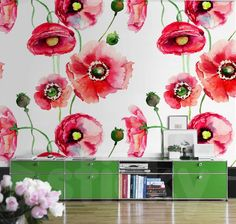 Wallpaper Sticker POPPIES by Sticky!!! Canvas Prints, Shower Curtain, Wallpaper, Wall Murals, Printed Shower Curtain, Wall, Home Decor, Wallpaper Stickers, Wall Stickers