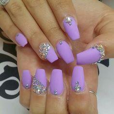 Matte purple and rhinestone nailart #nailart @Jenniferw