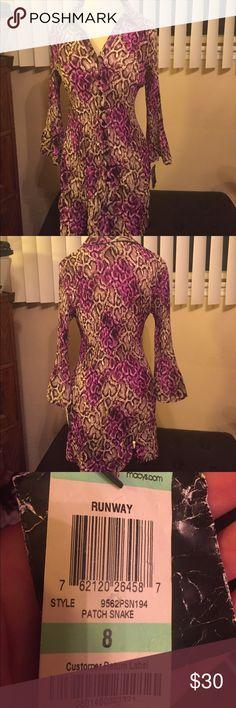 Alfani leopard print dress New with tags; Alfani leopard print dress; pleated and size 8; brown and purple colors Alfani Dresses Midi