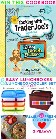 Cooking with Trader Joe's Easy Lunchboxes Cookbook & a ELB Container/Cooler Set on FamilyFreshCooking.com Book photography by MarlaMeridith.com @Kelly Lester / EasyLunchboxes