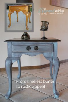 """BEFORE/AFTER LOVE! """"Colette"""" in Gray Morning/Velvet Midnight blend by Behr. Loving the two knobs in place of one! Re-loved by The Charmed Workshop. Imagine it...differently."""