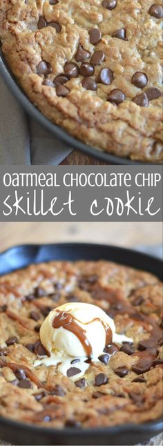 Oatmeal chocolate chip cookie dough is spread into a cast iron skillet and baked until it's melty, gooey deliciousness. We top it off with salted caramel sauce and ice cream. Brownie Desserts, Oreo Dessert, Mini Desserts, Coconut Dessert, Ice Cream Desserts, Just Desserts, Delicious Desserts, Delicious Chocolate, Healthy Desserts