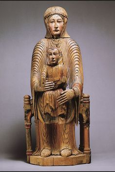 Romanesque Wood Madonna from the Metropolitan Museum of Art Sculpture Images, Wood Sculpture, Statues, Romanesque Art, Art Roman, Mystique, Madonna And Child, Medieval Art, Dark Ages