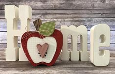 """Apple - September """"Home"""" Interchangeable """"O"""" Wood Decor by ScrapHappyPagesStore on Etsy Apple Kitchen Decor, Farmhouse Kitchen Decor, Apple Decorations For Kitchen, Country Farmhouse, September Decorations, Decor Crafts, Wood Crafts, Wood Craft Patterns, Apple Home"""