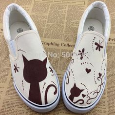 images of cartoon women painting barns | Cute And Sweet Cartoon Cat Painting Pattern Canvas Shoes Hand painted ...