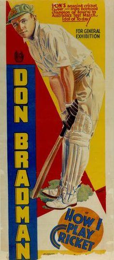 Cinema poster: 'Don Bradman - How I play cricket', early 1930s.