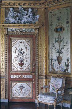 Ornamental designs over silver leaf.