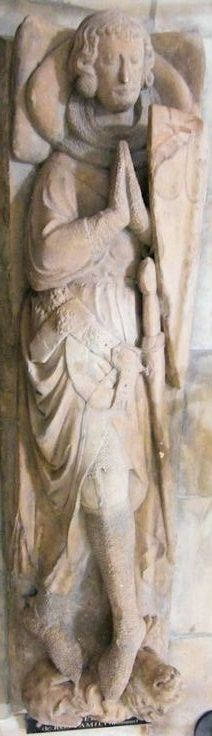 Knight Templar Sir Robert de Ros, (d. 1227) 4th Baron of Hamlake, casting of his effigy at Temple Church, London by the Victoria  Albert Museum. He was one of the 25 Magna Carta Surety Barons  he converted Helmsley Castle from a wooden structure into a stone fortress in 1186.