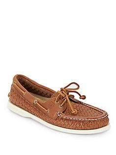 Authentic Original Woven Leather Boat Shoes - SaksOff5th