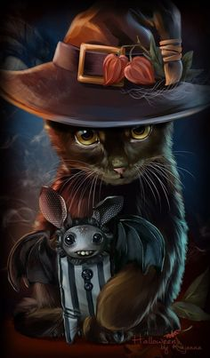 Black cat, bat, Halloween pictures with cats I Love Cats, Cute Cats, Tim Burton Kunst, Black Cat Painting, Painting Art, Witch Cat, Cute Animal Drawings, Halloween Cat, Halloween Pictures