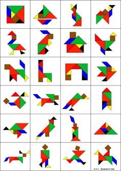 Tangram to print in color with 8 animal models - Anna Giné Roda - - Tangram à imprimer en couleur avec 8 modèles d'animaux Tangram to print in color with 8 models of animals -Model a inprimer Montessori Activities, Learning Activities, Preschool Activities, Kids Learning, Tangram Printable, Tangram Puzzles, Material Didático, Math Games, Pattern Blocks