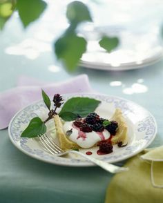 Basil adds a spicy aroma to this summery berry dessert.