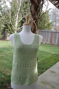 Crochet Tank Top Textured in Lime Cotton Size Large by LoyesThread