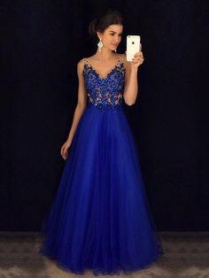 Princess V-neck Tulle Floor-length Beading Prom Dresses #Milly020105576