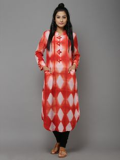 """Description: A beautifully emblished kurti with front pockets. It can be paired with churidar or salwar. Length of the garment is 48"""". Size Chart - These are g"""
