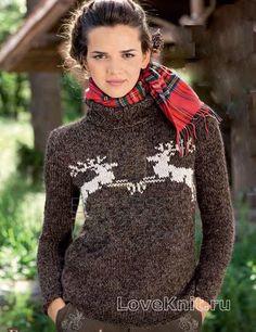 Спицами коричневый свитер с оленями фото к описанию