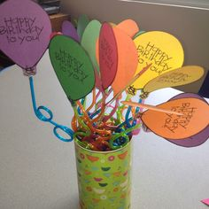Silly straws with a balloon.